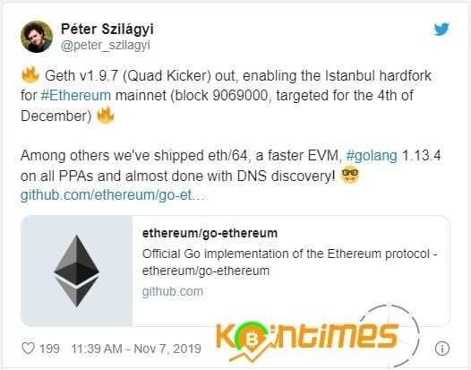 Ethereum'un İstanbul Hard Fork'u 4 Aralıkta Geliyor