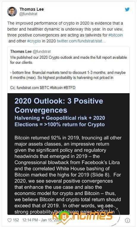Tom Lee : 2020'de Kriptonun Geleceği Aydınlık